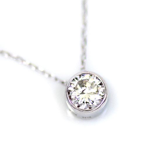 Pt 0.2ct ダイヤモンド ベゼル ペンダント プラチナ フクリン ネックレス ダイヤ プレゼント 大人 レディース 女性 一粒石 1粒