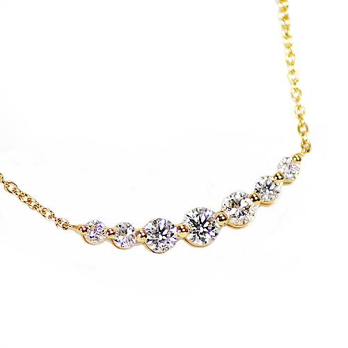限定13本 K18 0.35ct ダイヤモンド 7ストーン ペンダント