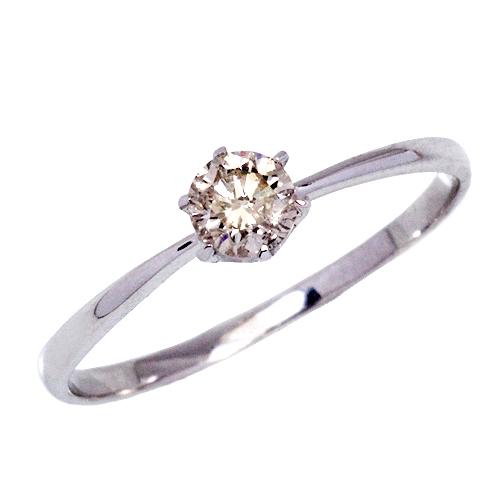Pt 0.25ct ブラウン ダイヤモンド リング 6爪 プラチナ ファンシー ブラウンカラー ダイヤ 1粒