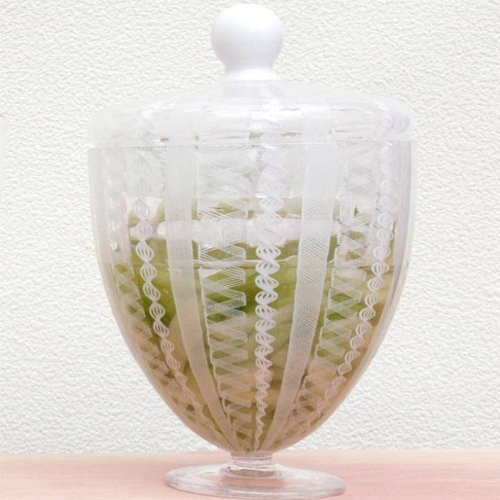 ヴェネチアングラスのようなレース模様がおしゃれな浅漬鉢フィリグラーナ漬物器<ガラス工房 CRAFTHOUSE>