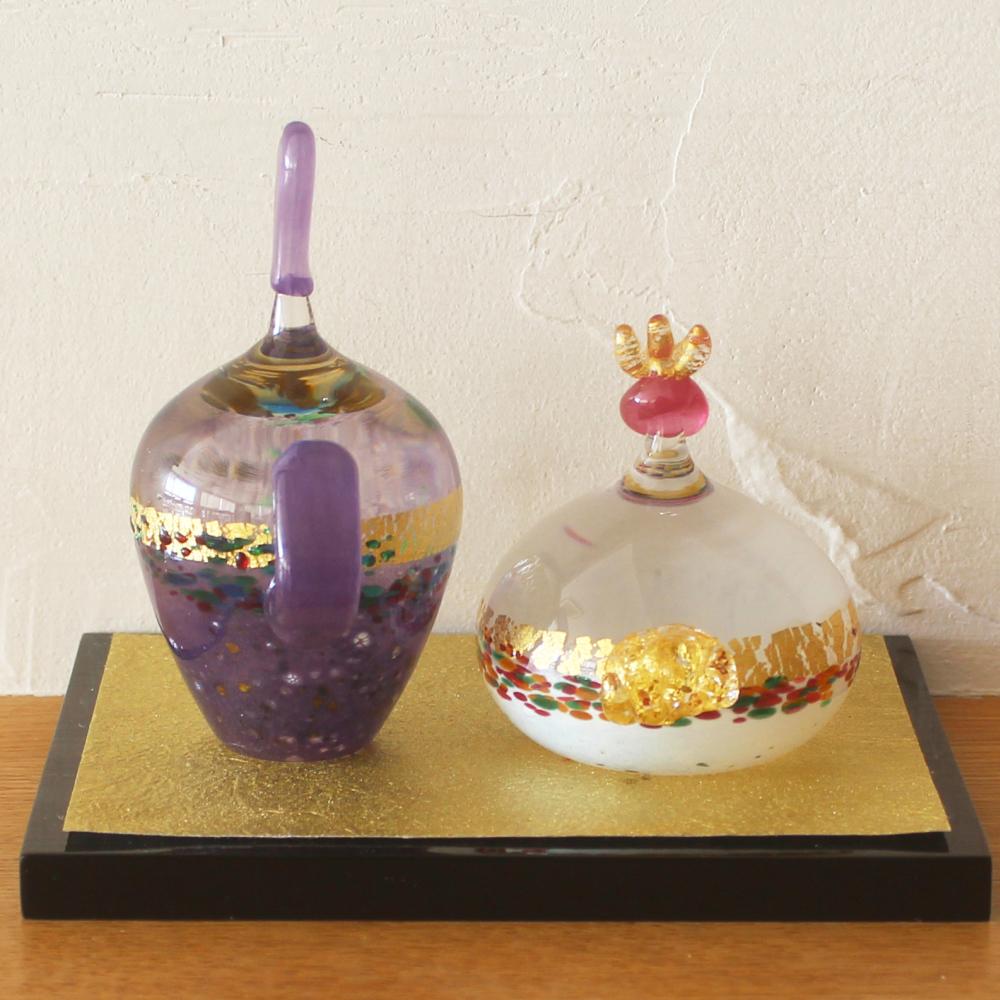 作家 渡部晃子 ガラス製 雛人形 春想 敷板・和紙付き 箱入り