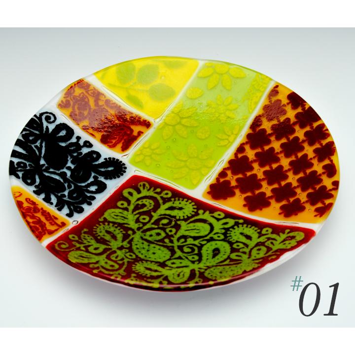 Fukico Ceramico 絵皿 Marrakesh Collage 丸皿 ガラス