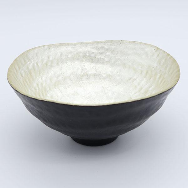 吉田華正作 福寿 送料0円 銀蒔絵 交換無料 硝胎抹茶碗