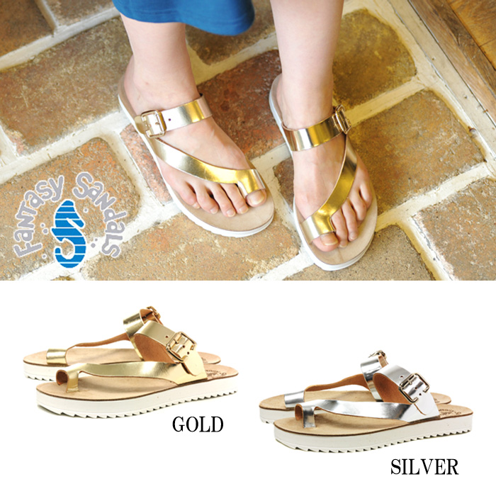 That FANTASY SANDALS S-8006 fantasy Sundar leather strap Sandals leather thong ladies women's metallic 1504 ◆ ◆
