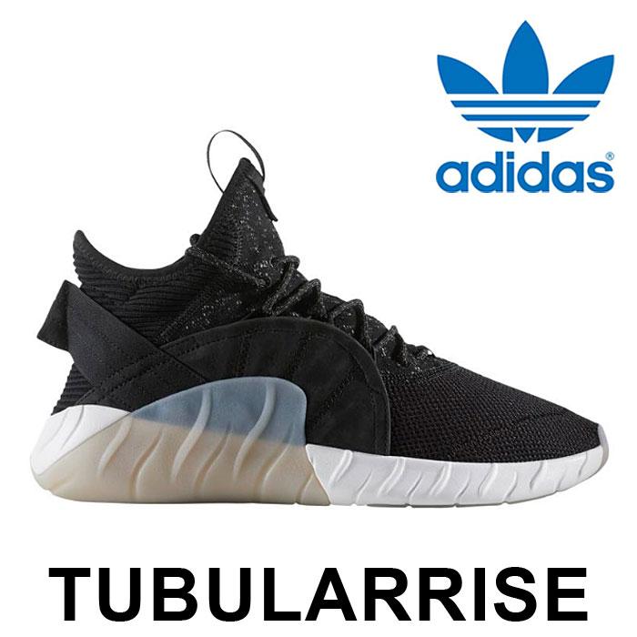 送料無料 アディダス オリジナルス チュブラー ライズ スニーカー メンズ レディース ミッドカット シューズ 靴 ブラック 黒 adidas Originals TUBULARRISE BY3554