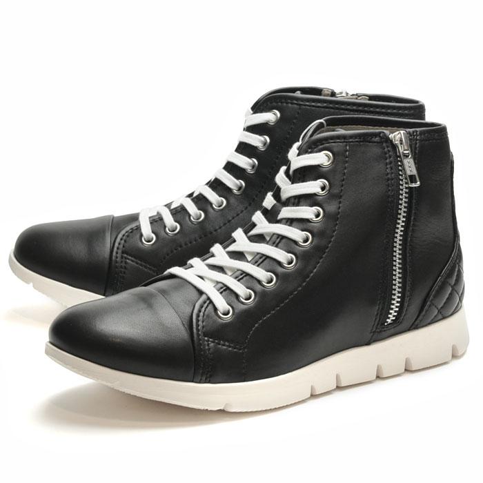 送料無料 フィットジョイ FITJOY FJ-025 ブラック 黒 スニーカー レディース 軽量 レザーシューズ ブーツ ハイカット シープスキン 旅行用 靴 おしゃれ