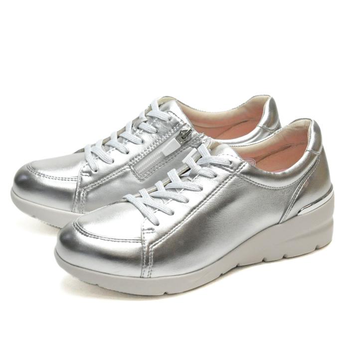送料無料 フィットジョイ FITJOY FJ 033 シルバー メタリック 銀 スニーカー レディース ウォーキングシューズ 軽量 レザーシューズ シープスキン 旅行用 靴 おしゃれ あす楽 即納qUzMSGLVp