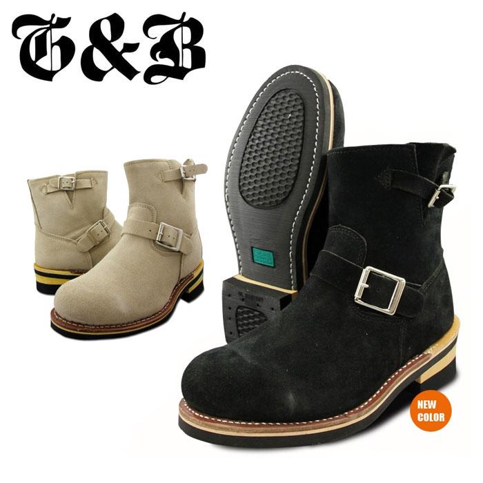 送料無料 ゴッド&ブレス エンジニアブーツ ブーツ ショート 本革 レザー スウェード 黒 ベージュ サンド ブラック 大きいサイズ GOD&BLESS G&B GB9808B SUEDE 靴