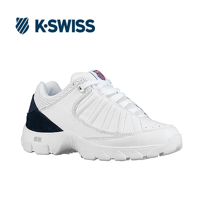 送料無料 Kスイス ケースイス ヘリテージ レディース ホワイト ネイビー スニーカー ダッドスニーカー ダッドシューズ おじ靴 レザー テニスシューズ コート K-SWISS ST529 Heritage WHITE NAVY