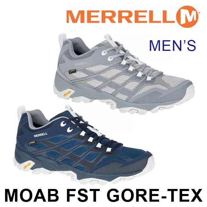 送料無料 メレル モアブ FST ゴアテックス メンズ トレッキングシューズ ローカット 防水 アウトドア キャンプ ハイキング シルバー ネイビー 男性 MERRELL MOAB FST GORE-TEX