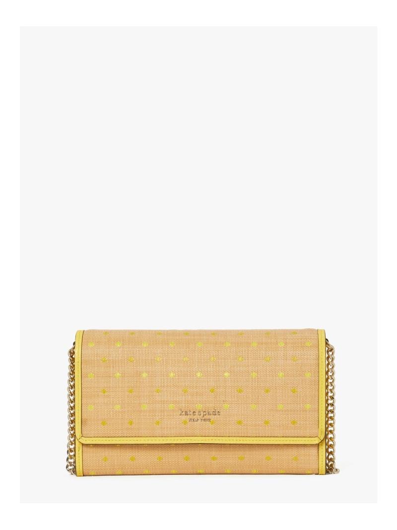kate spade new タイムセール york レディース 財布 小物 ケイトスペードニューヨーク SALE 50%OFF ドット クラッチ Rakuten RBA_E 毎日激安特売で 営業中です チェーン ルーレット ラフィア Fashion 送料無料
