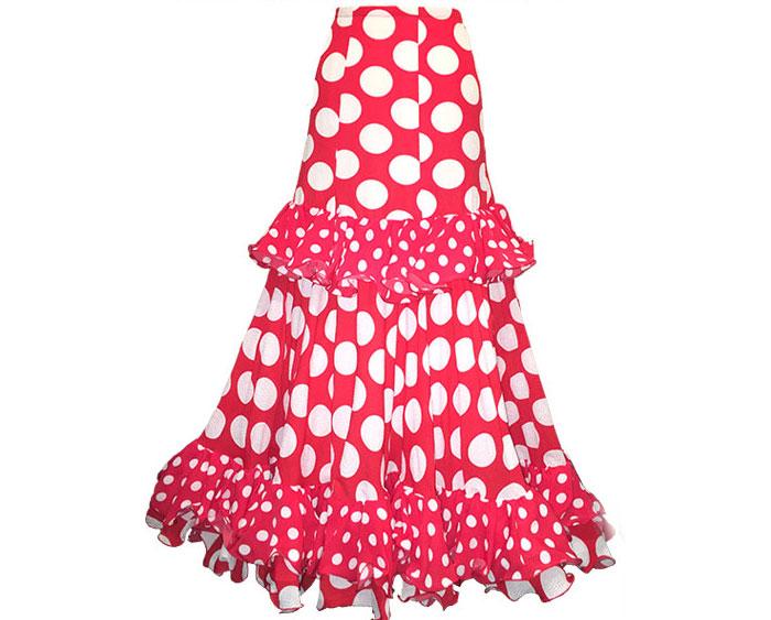 水玉ファルダ Gitana (赤地に白玉)(SIZE:40)フラメンコスカート Guadalupe社製