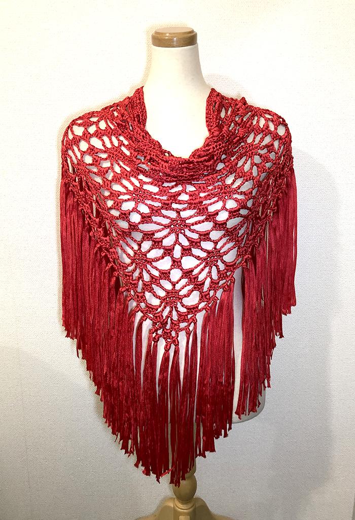 スペイン製 鍵編みマントンシージョ(Cinta Pinas) Rojo(赤) Fajardo社製 フラメンコ マントン シージョ