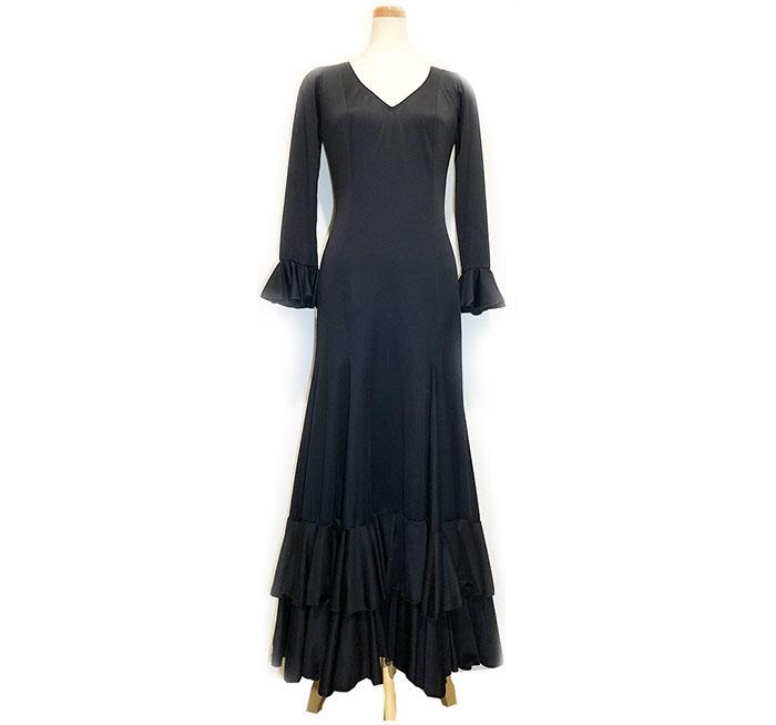 2ボランテストレッチワンピース 黒(SIZE:40)フラメンコドレス INTEXA社製 フラメンコ衣装