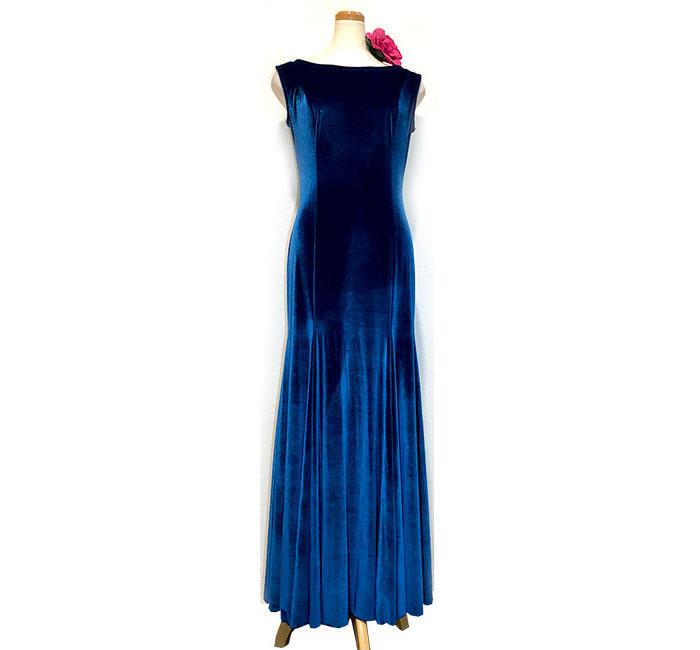 ノースリーブベルベット・ワンピース 濃青 (SIZE:40)フラメンコドレス INTEXA社製 フラメンコ衣装