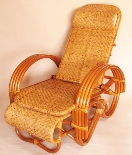 籐リクライナー 籐三つ折り椅子 リラックスチェアNO13