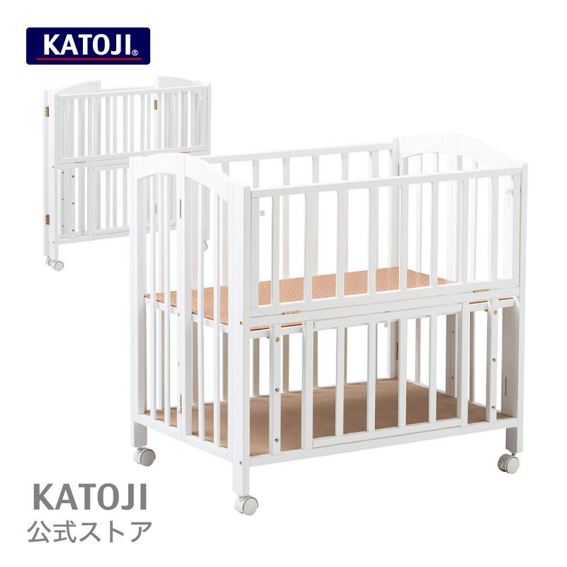 折り畳み式 ミニベビーベッド アーチ(ホワイト)【 ハイタイプ 】【 収納板付き 】 katoji KATOJI カトージ
