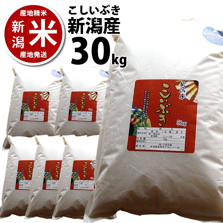 【あす楽】 新潟県産 こしいぶき 30kg 精米済 (5kg*6袋)【30年産】【本州送料無料】※ 品質保持用の窒素置換パック代金含む【新潟米】