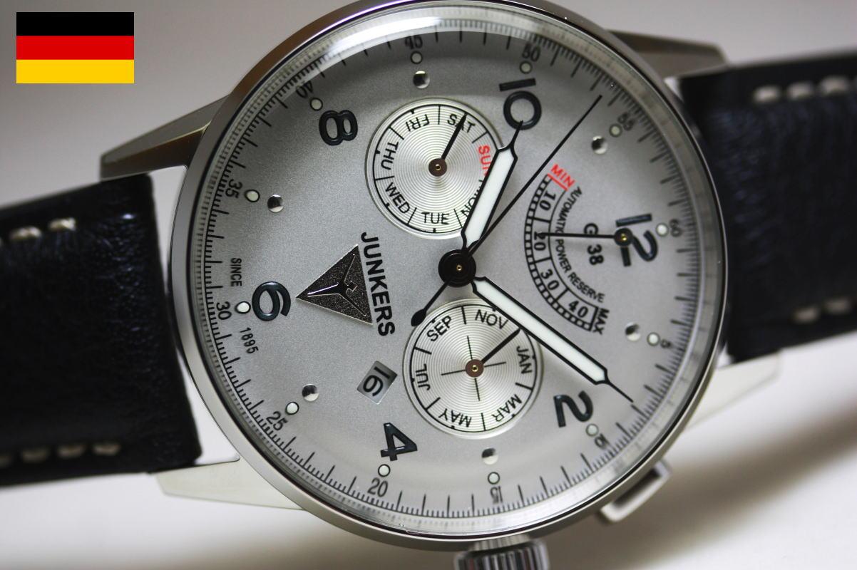 ドイツ製Junkers【ユンカース】G38パワーリザーブ搭載自動巻き腕時計/トリプルカレンダー搭載/パイロットウォッチ