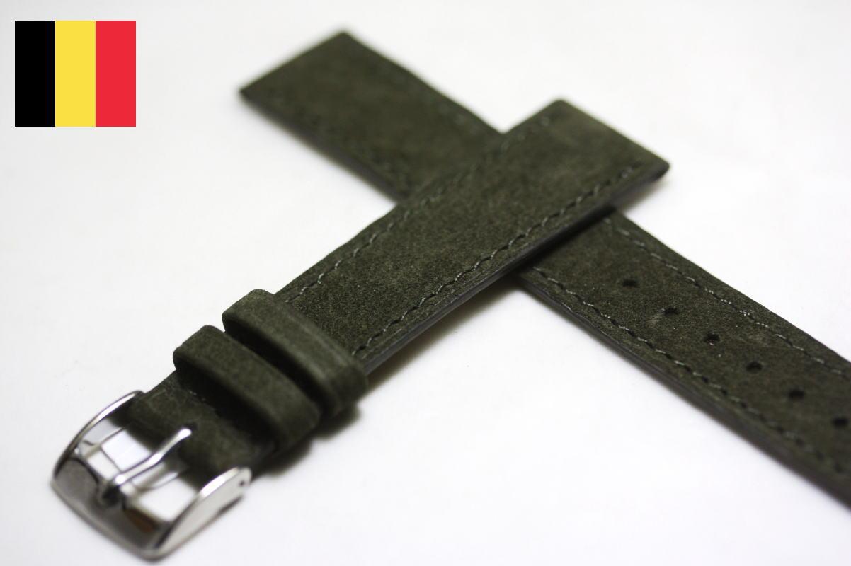 ベルギー製の革バンドLIC【リック】バッファロー革バンド/腕時計用/BELGIUM/HERMES/グリーン