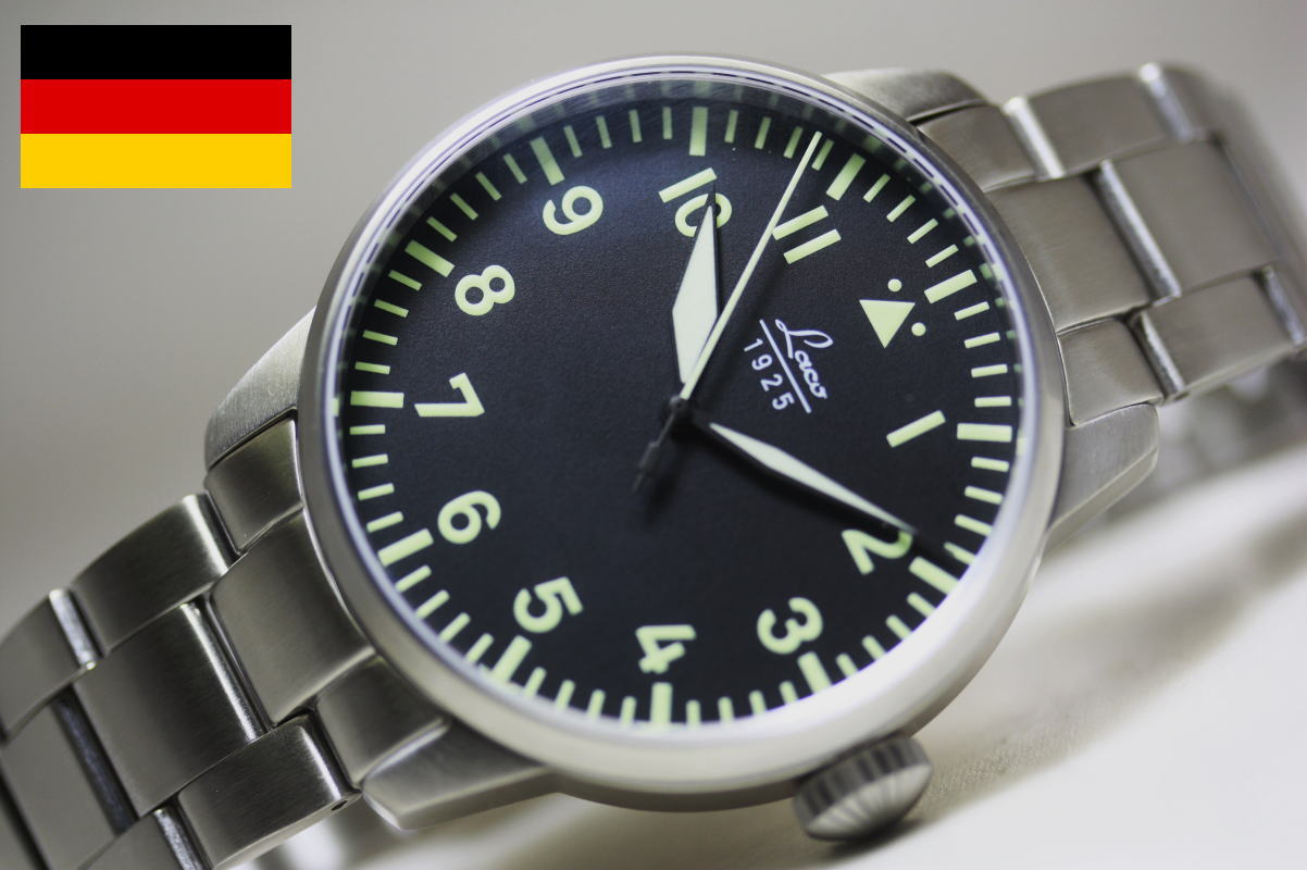 ステンレスバンドでより使いやすい!LACOの人気モデル!復刻!ドイツ空軍採用のLaco【ラコ】自動巻きパイロット・ミリタリーウォッチ/腕時計