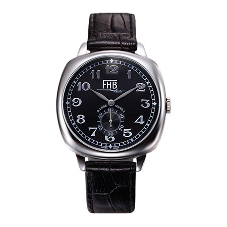 FHB Classicデザインウォッチ/ブラック・スクエア腕時計角型ケース腕時計/ブラックダイアル/送料無料/角形ケース/クッション型ケース/プレゼント