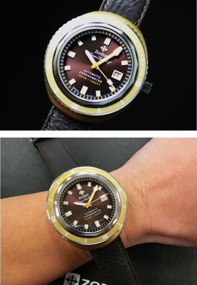 世界范围内的有限的 82 ! 向在瑞士 ZODIACSuper 海 Wolf68Marine 青铜天文自动上弦手表防水 1000 米