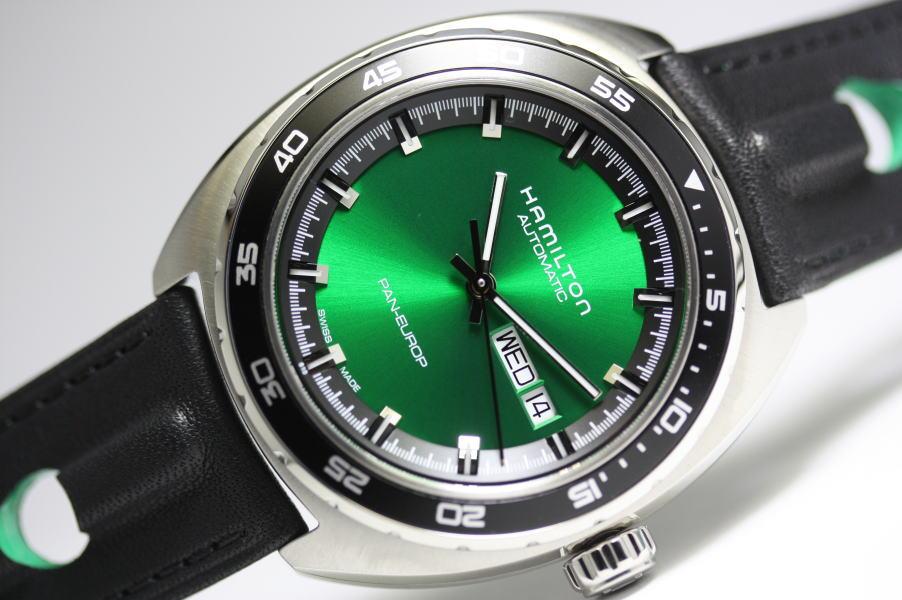 綺麗なグリーン!約80時間駆動!70年代デザインのHAMILTON【ハミルトン】パンユーロ自動巻き腕時計/スイス製/正規代理店商品