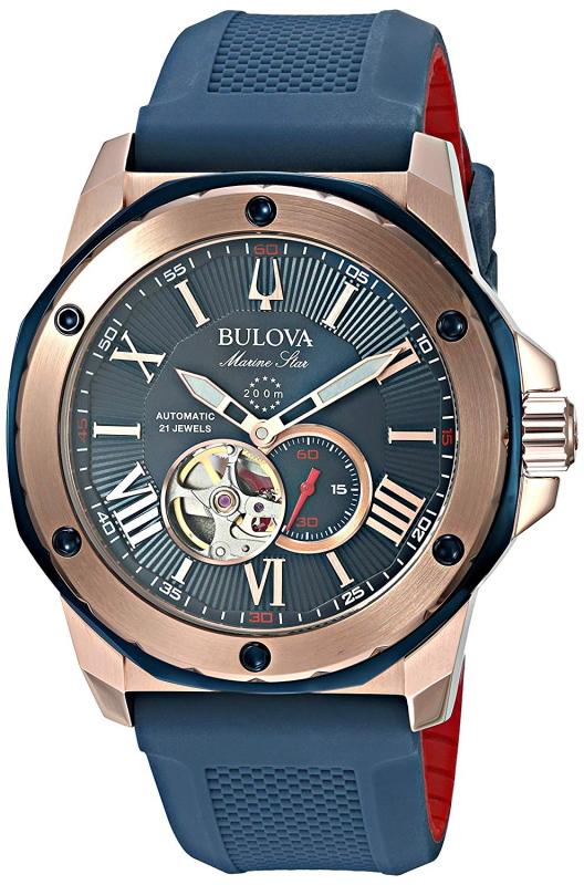 BULOVA【ブローバ】Marine Star【マリンスター】200m防水セミスケルトン自動巻き腕時計/オープンハート/正規代理店商品/送料無料/クリスマス/腕時計