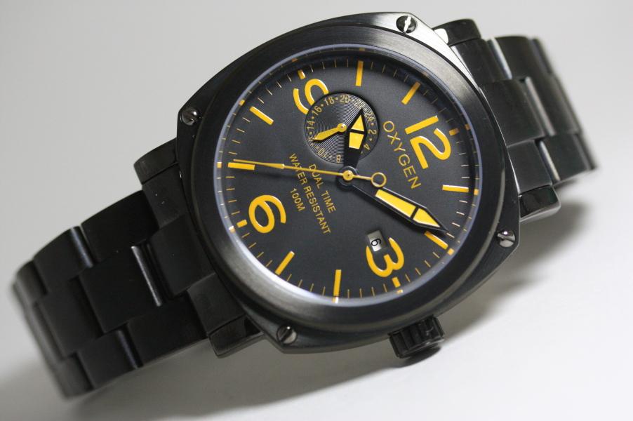 【デッドストック】フランスのOXYGEN【オキシゲン】デュアルタイム・クォーツ・ブラック/腕時計/正規代理店商品