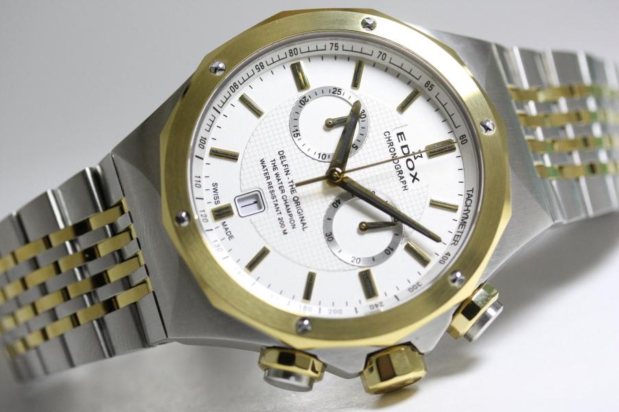 在庫処分価格!スイス製EDOX【エドックス】DELFIN【デルフィン】オリジナル・クロノグラフ腕時計/クォーツ/200m防水/ダイバーウォッチ/並行輸入品/154,000円
