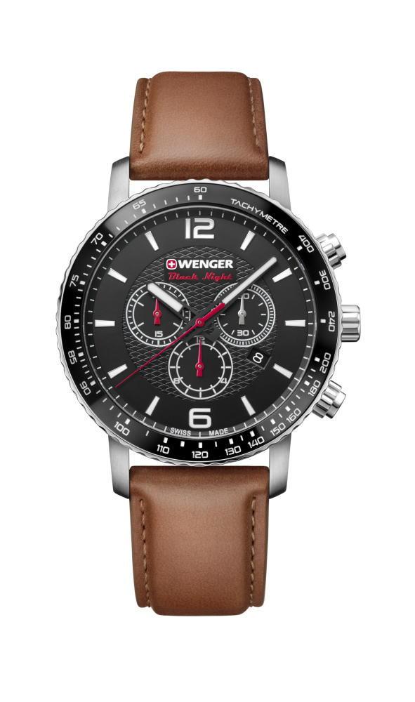 シンプルなスイス製WENGER【ウェンガー】Roadster【ロードスター・ブラックナイト】クォーツ・クロノグラフ腕時計/正規代理店商品