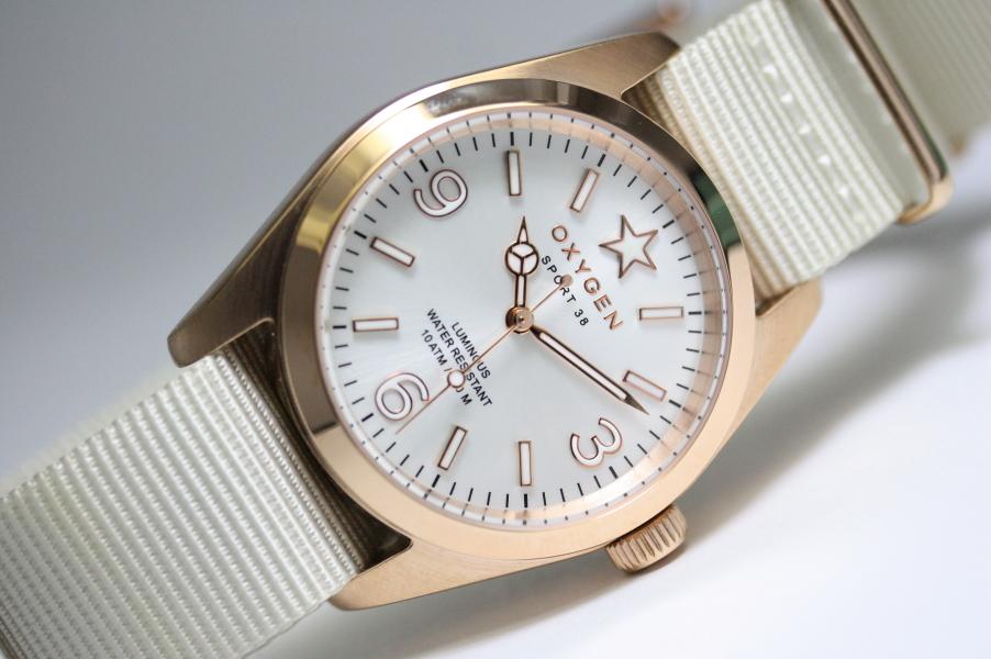 【デッドストック】フランスのOXYGEN【オキシゲン】Sport38・ローズゴールド・クォーツ・デザインウォッチ/男女兼用腕時計/正規代理店商品/ボーイズサイズ