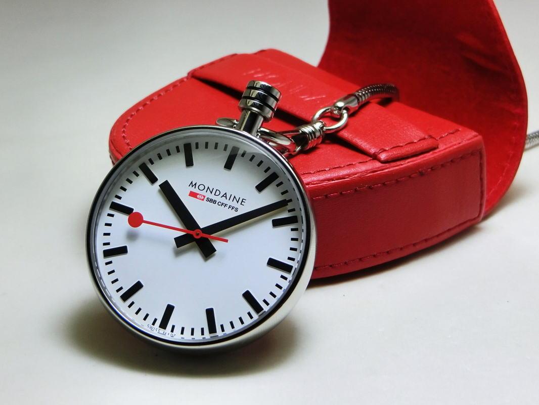 スイス鉄道公式時計MONDAINE【モンディーン】ポケットウォッチ/懐中時計/チェーン付き/送料無料/クリスマス/35,200円