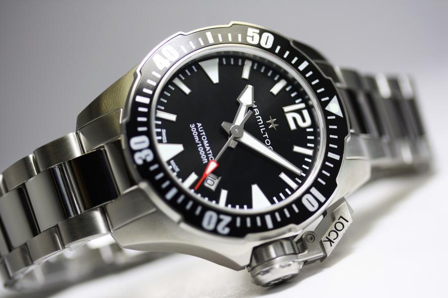 Hamilton【ハミルトン】Khaki Navy Open Water Auto カーキネイビーオープンウォーター自動巻き腕時計H77605135フロッグマン300m防水