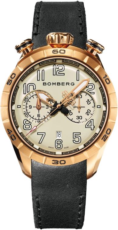 スイス製BOMBERG【ボンバーグ】BB-68 ゴールドグレー・クォーツ腕時計/国内正規流通商品/ツノクロノグラフ/132,000円