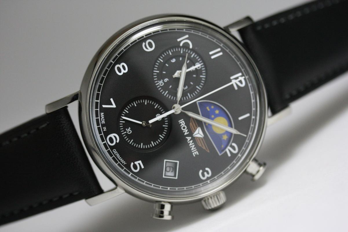 ドイツ製IRON ANNIE【アイアン・アニー】Amazonas Impressionムーンフェイズ・クロノグラフ・クォーツ腕時計/スモールセコンド/メンズウォッチ/正規代理店商品/Junkersユンカース