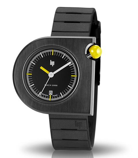 フランスのLIP【リップ】MACHマッハ2000BLUE MOONデザインウォッチ/腕時計/黄色ボタン/メンズ/ボーイズサイズ/送料無料