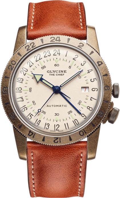 スイス製GLYCINE グリシン Airman Vintage エアマン ビンテージ The Chief チーフ GMT搭載自動巻き腕時計 ミリタリーウォッチ 腕時計 アメリカ空軍パイロット グライシン TURLERチューラー