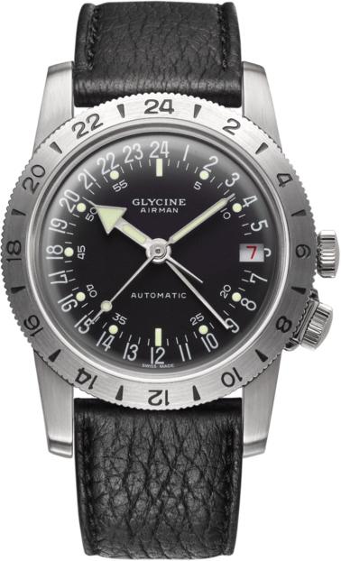 限定1000本!復刻!スイス製GLYCINE【グリシン】Airman36 No1【エアマン・ナンバーワン】GMT搭載自動巻き腕時計/ミリタリーウォッチ/腕時計/アメリカ空軍パイロット/グライシン