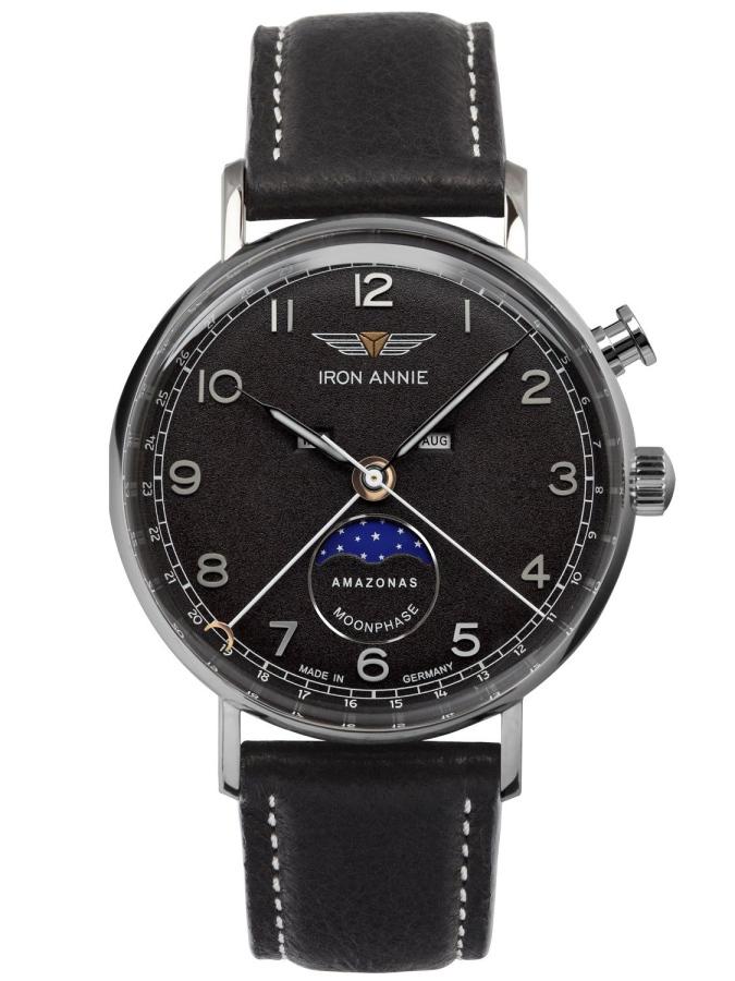 ドイツ製IRON ANNIE【アイアン・アニー】Amazonasムーンフェイズ・ポインターデイト・クォーツ腕時計/メンズウォッチ/トリプルカレンダー/正規代理店商品/Junkersユンカース
