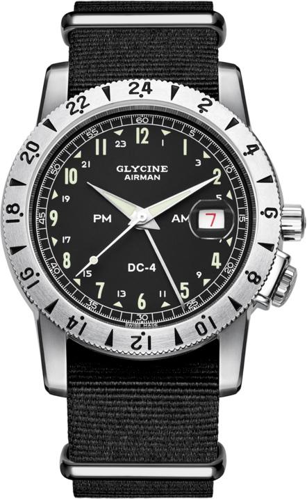 GMT搭載!スイス製GLYCINE【グリシン】Airman Vintage【エアマン・ビンテージ】Noon自動巻き腕時計/ミリタリーウォッチ/腕時計/アメリカ空軍パイロット/グライシン/エアマン PM/AM/DC-4