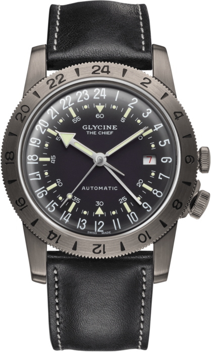 スイス製GLYCINE【グリシン】Airman Vintage【エアマン・ビンテージ】The Chief【チーフ】GMT搭載自動巻き腕時計/ミリタリーウォッチ/腕時計/アメリカ空軍パイロット/グライシン/TURLERチューラー