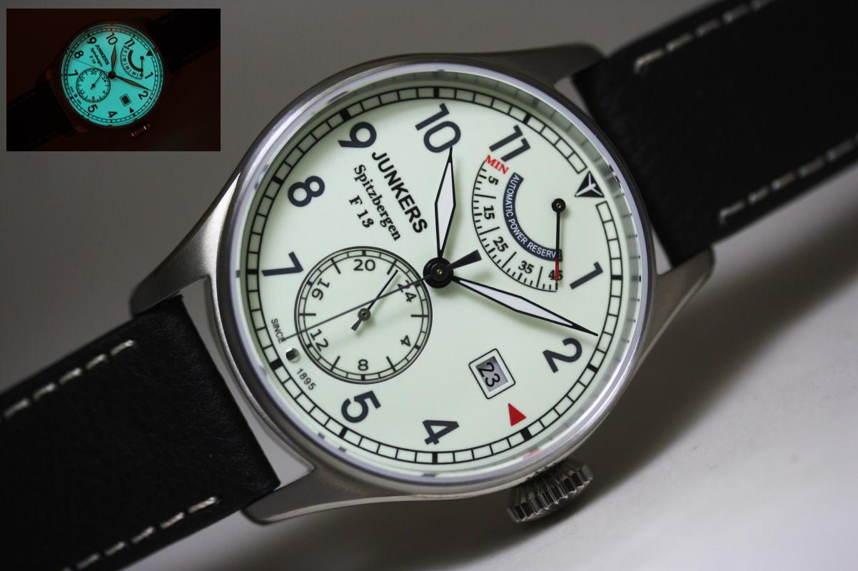 暗闇で光る!ドイツ製Junkers【ユンカース】Spitzbergen F13【スピッツベルゲン】パワーリザーブ搭載自動巻き腕時計