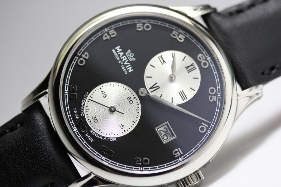 在庫処分価格!MARVIN【マーヴィン】針がそれぞれ独立したレギュレーター自動巻き腕時計280000円