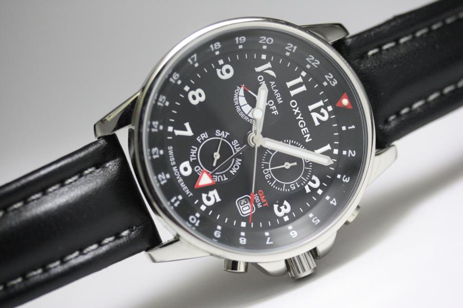 【デッドストック】フランスのOXYGEN【オキシゲン】クォーツ・GMTアラーム・ウォッチ/男性用腕時計/正規代理店商品