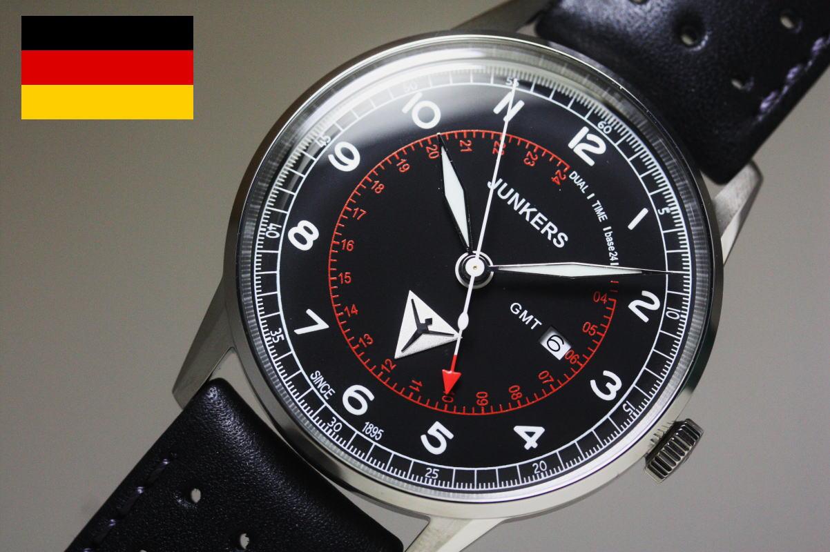 在庫処分価格SALE!ヴィンテージ・スタイル!ドイツ製Junkers【ユンカース】G38クォーツ・クロノグラフ腕時計/パイロットウォッチ/GMT搭載/正規代理店商品