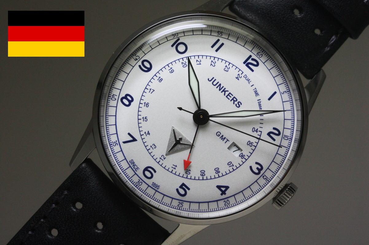 ヴィンテージ・スタイル!ドイツ製Junkers【ユンカース】G38クォーツ・クロノグラフ腕時計/パイロットウォッチ/GMT搭載/正規代理店商品