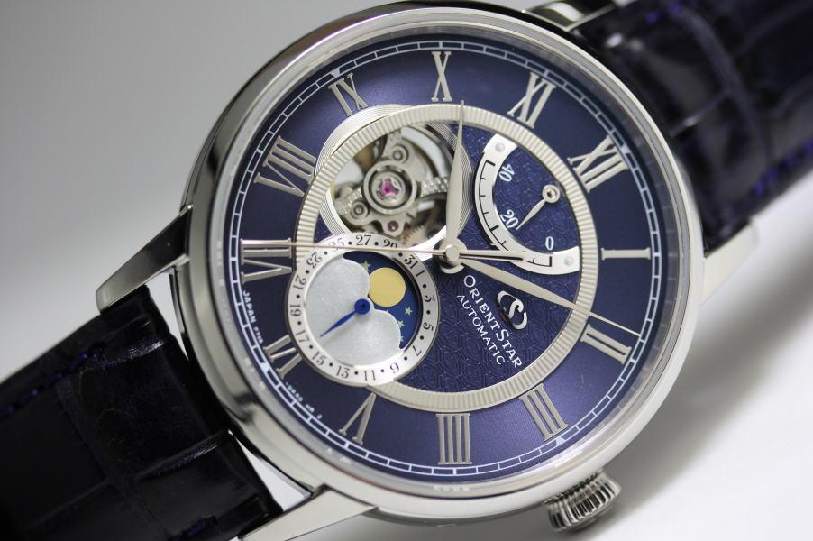 オリエントスター初のムーンフェイズ自動巻き腕時計Orient Star機械式月齢腕時計Mechanical Moon Phaseオープンハート/パワーリザーブ/送料無料/メーカー希望小売価格170000円(税別)