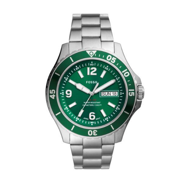 FOSSIL【フォッシル】FB-02グリーンベゼル・ダイバーデザイン/100m防水/正規代理店商品メンズ/プレゼントにもオススメ/送料無料/クリスマス/腕時計